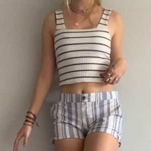 Women's White cropped tank top with Black Stripes
